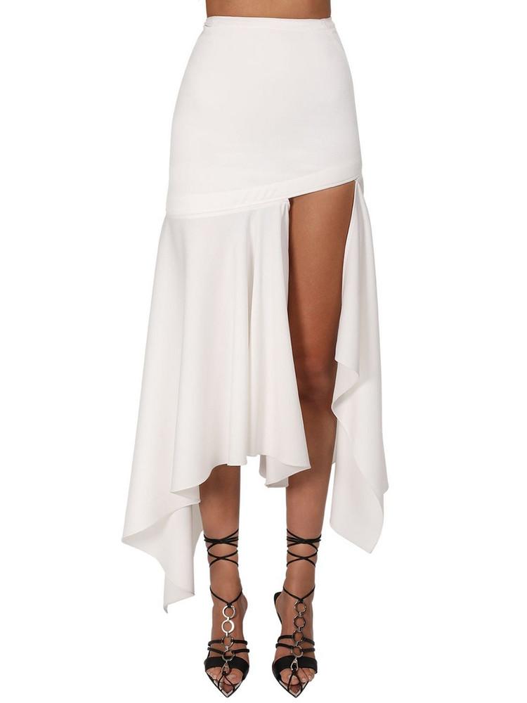 MUGLER Asymmetric Wool Twill Skirt in white