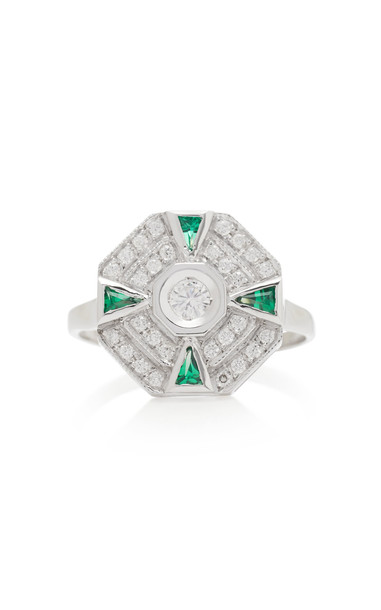 Melis Goral 18K White Gold, Diamond And Emerald Ring Size: 7 in green