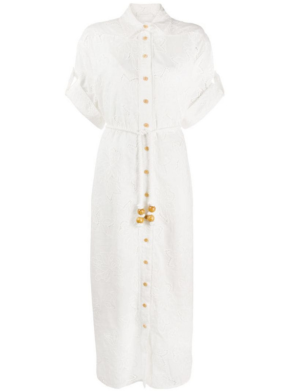 Zimmermann embroidered floral shirt dress in white