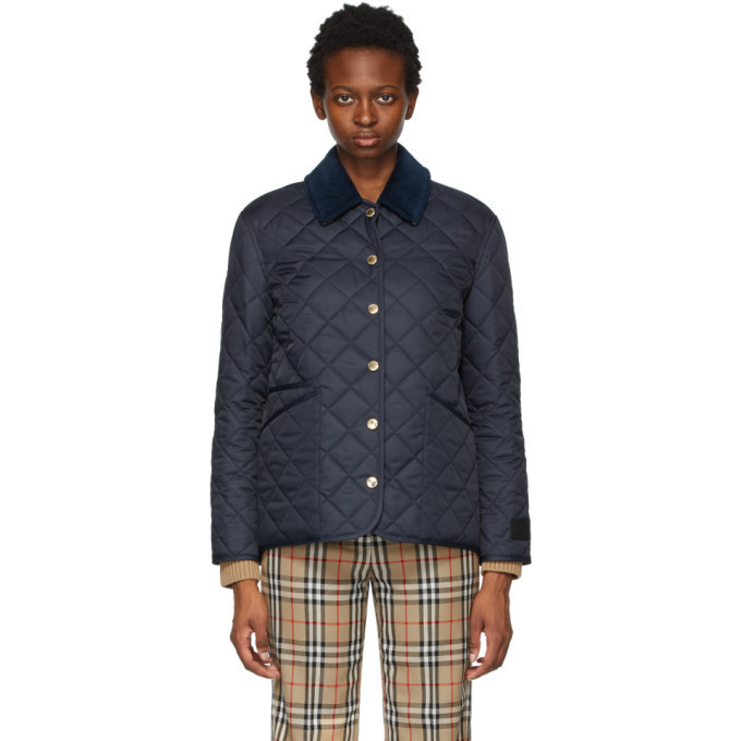 Burberry Navy Quilted Corduroy Collar Jacket in midnight