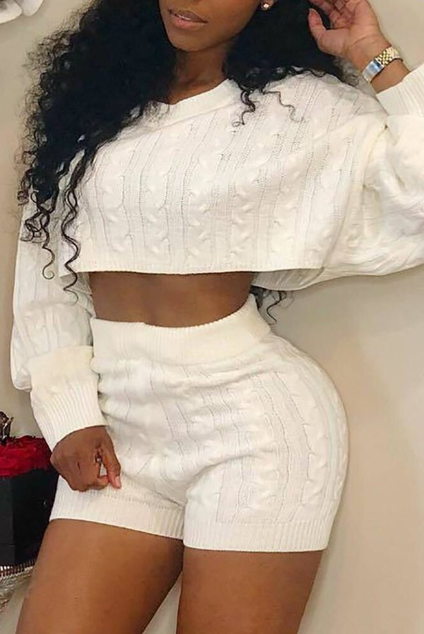 romper comfy girly girl girly wishlist white sweater crop cropped cropped sweater cable knit shorts trendy two-piece matching set