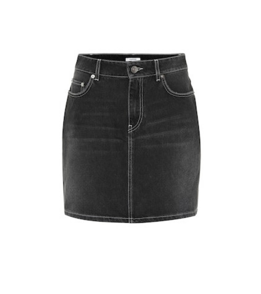Ganni Denim miniskirt in black