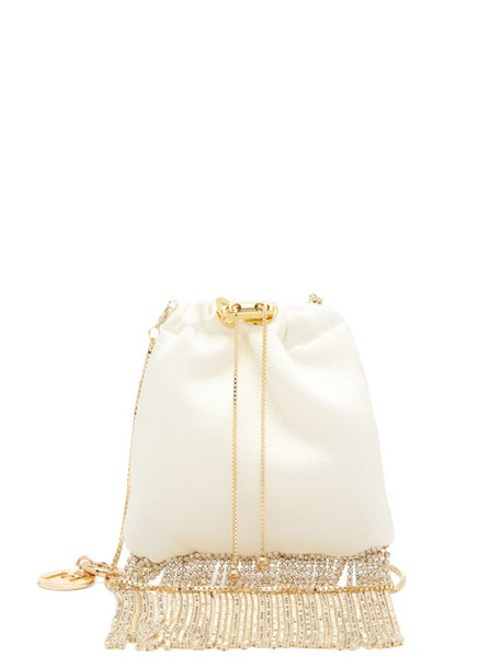 Rosantica - Fatalina Crystal-fringed Satin Pouch - Womens - White Multi