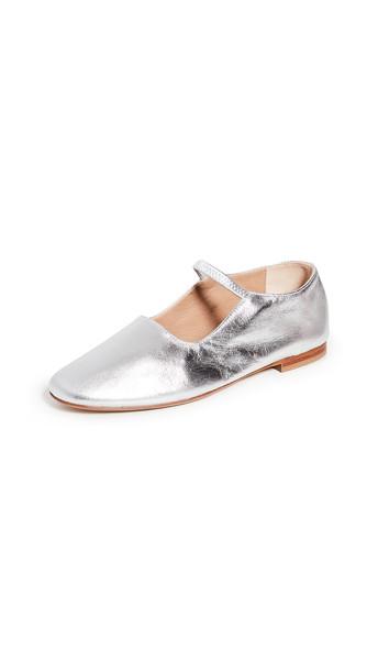 Mansur Gavriel Glove Mary Jane Flats in silver
