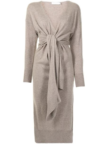 Jonathan Simkhai Skyla faux-wrap knitted dress in brown