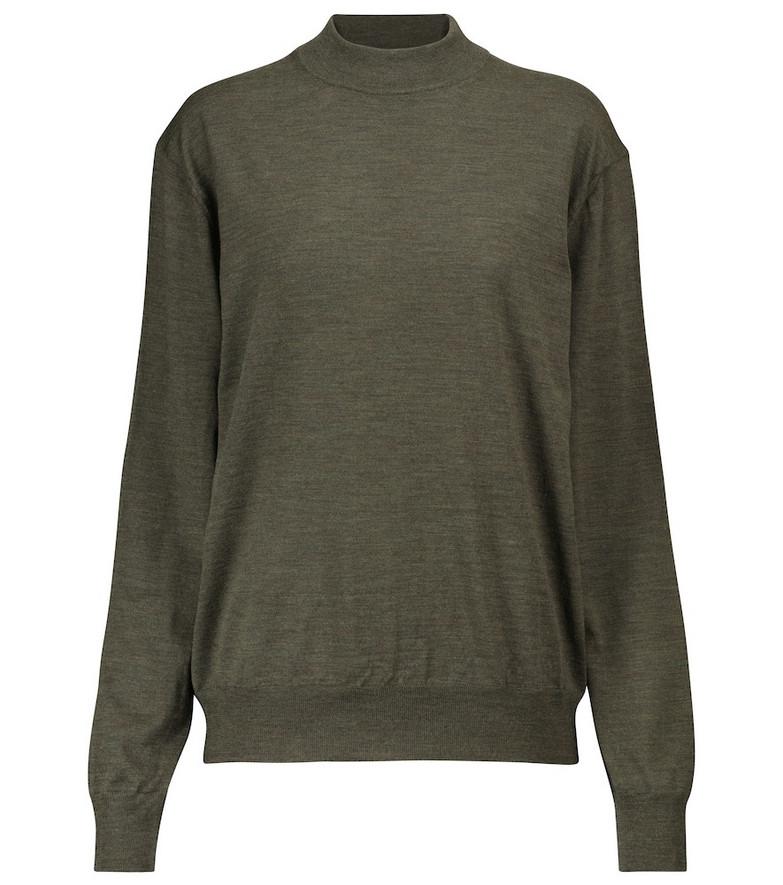The Row Dru merino wool sweater in green