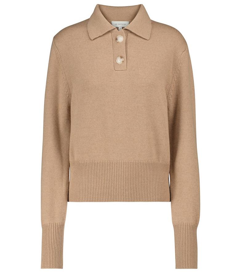 Lee Mathews Daisy merino wool polo sweater in beige