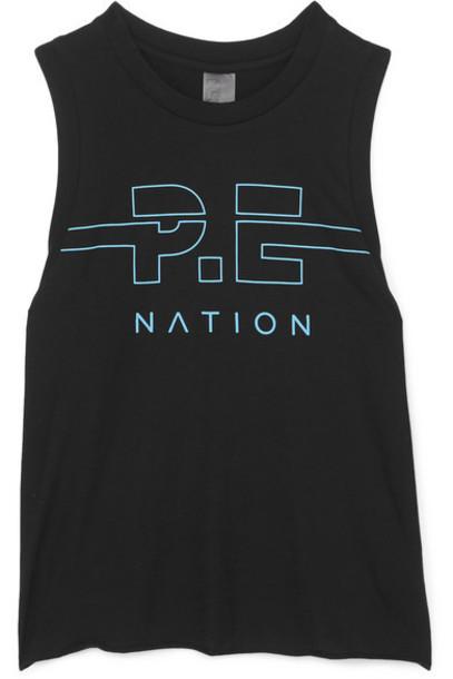 P.E NATION - Spike Printed Cotton-jersey Tank - Black