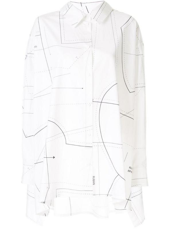 Ruban printed poplin shirt in white