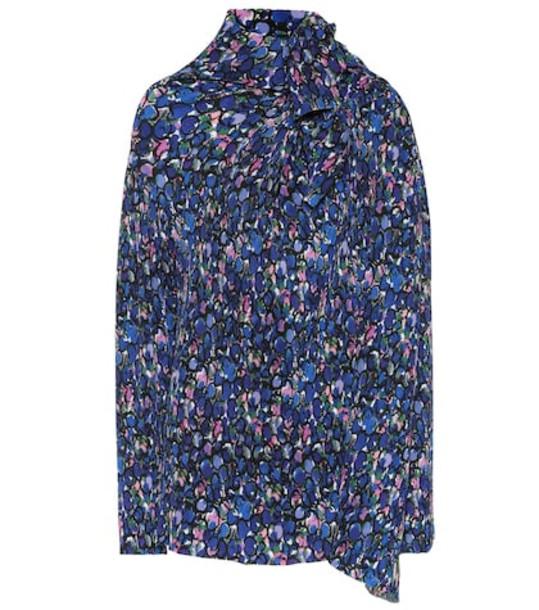 Balenciaga Printed plissé blouse in blue