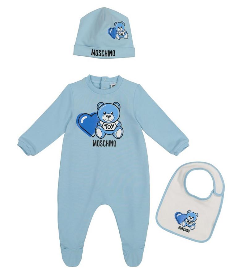 Moschino Kids Baby stretch-cotton onesie, bib and hat set in blue