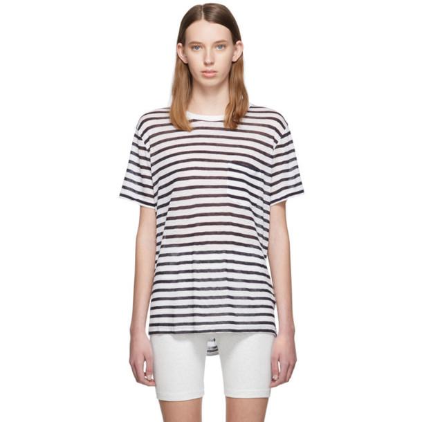 alexanderwang.t White & Navy Striped Slub Pocket T-Shirt