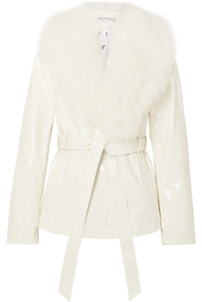 Saks Potts - Ritual Belted Shearling-trimmed Patent-leather Jacket - White