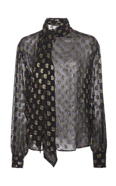 Etro Printed Pussy-Bow Silk Blouse in print