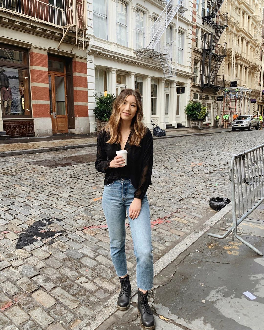 top black blouse high waisted jeans cropped jeans levi's black boots DrMartens