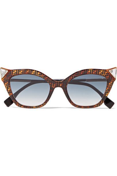 Fendi - Crystal-embellished Cat-eye Printed Tortoiseshell Acetate Sunglasses