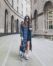jacket,denim jacket,long,sneakers,black bag,mini dress,black dress