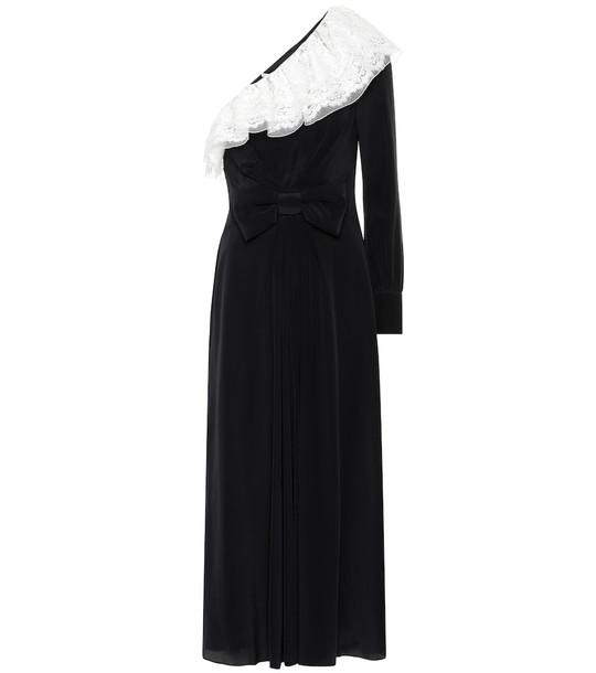 Alessandra Rich One-shoulder silk dress in black