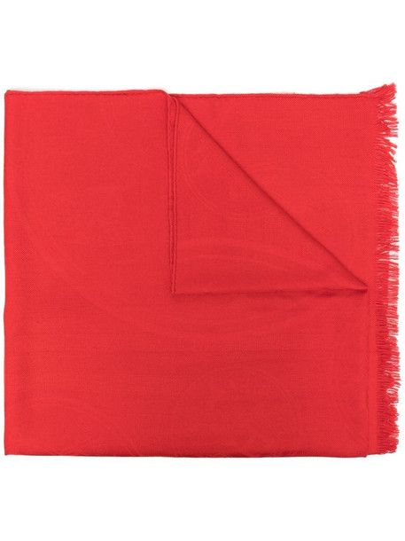 Hermès pre-owned fringed scarf in red