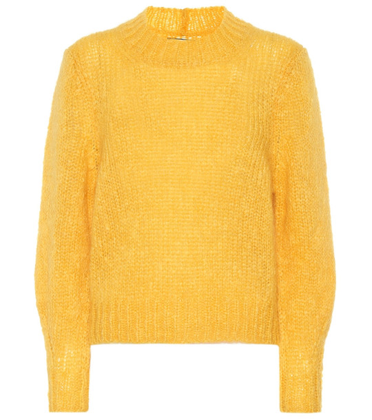 Isabel Marant Ivah mohair and wool-blend sweater in yellow
