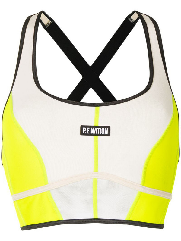 P.E Nation colour-block sports bra in yellow