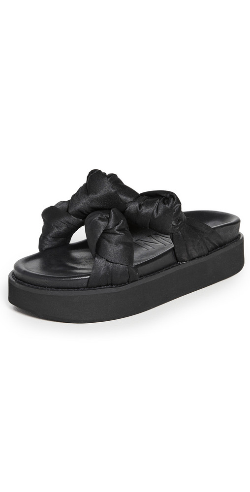 GANNI Mid Knotted Sandals in black