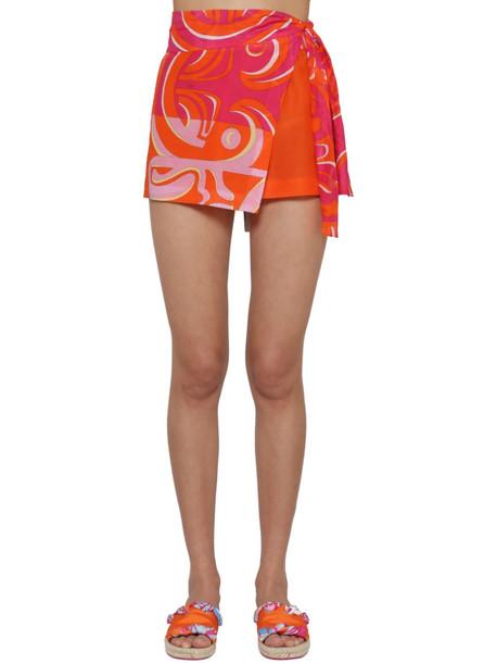 EMILIO PUCCI Printed Chiffon Wrap Shorts in orange / multi
