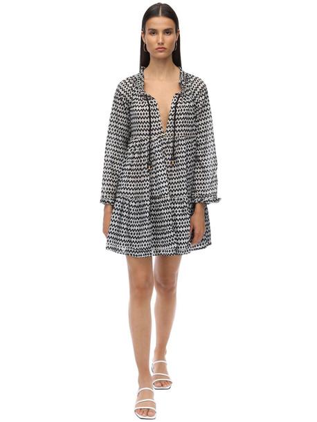 YVONNE S Cotton Voile Mini Dress in black / white