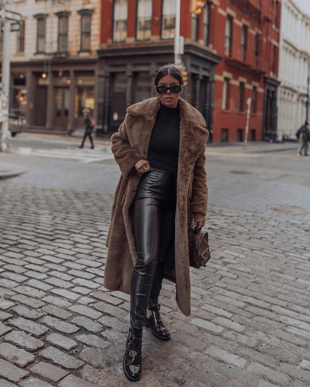 coat faux fur coat black bag black leggings black turtleneck top backpack louis vuitton bag