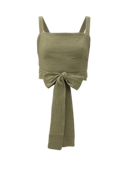 Loup Charmant - Pilos Wraparound Cotton Crop Top - Womens - Dark Green