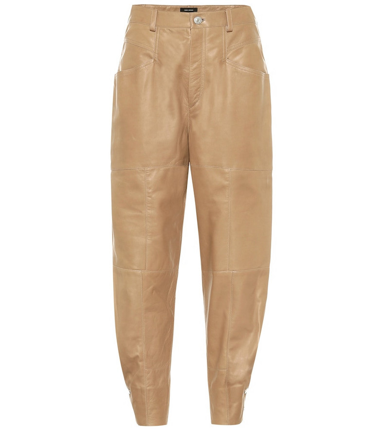 Isabel Marant Xiamao high-rise leather pants in brown