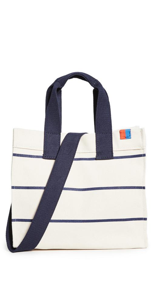 KULE The Horizontal Stripe Bucket Bag in navy