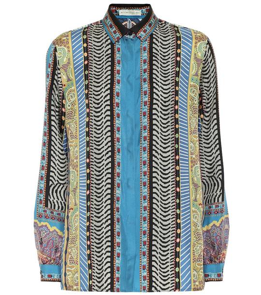 Etro Printed silk-twill shirt