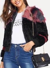 jacket,girly,girl,girly wishlist,black,fur,fur jacket,zip,zip-up,zip up jacket