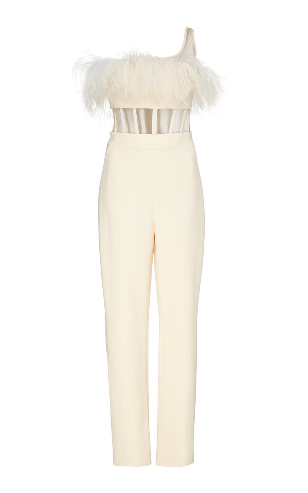 David Koma Feathered One-Shoulder Stretch-Crepe Jumpsuit Size: 8 in white