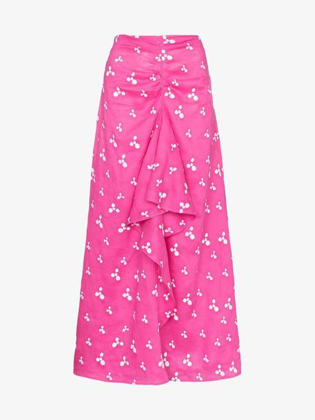 All Things Mochi Ola printed ruffle midi skirt in pink