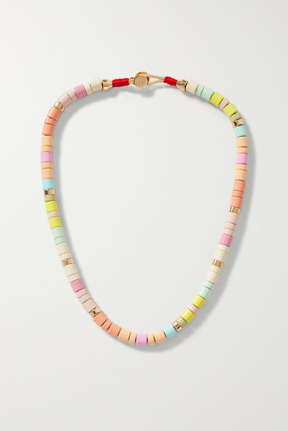 Roxanne Assoulin - Soft Serve Enamel And Gold-tone Necklace - Pink