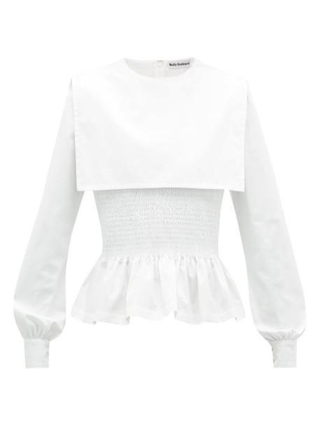 Molly Goddard - Lucy Shirred Cotton Poplin Peplum Top - Womens - White