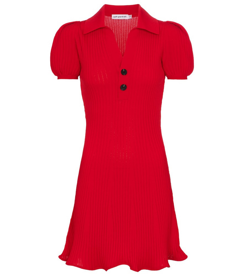 Self-Portrait Ribbed-knit minidress in red