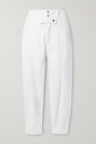 FRAME - Twisted Pleated Cotton Tapered Pants - White