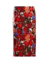skirt,pencil skirt,floral,print,red