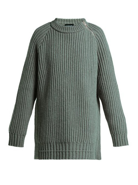 Calvin Klein 205w39nyc - Side Zip Oversized Lambswool Sweater - Womens - Grey
