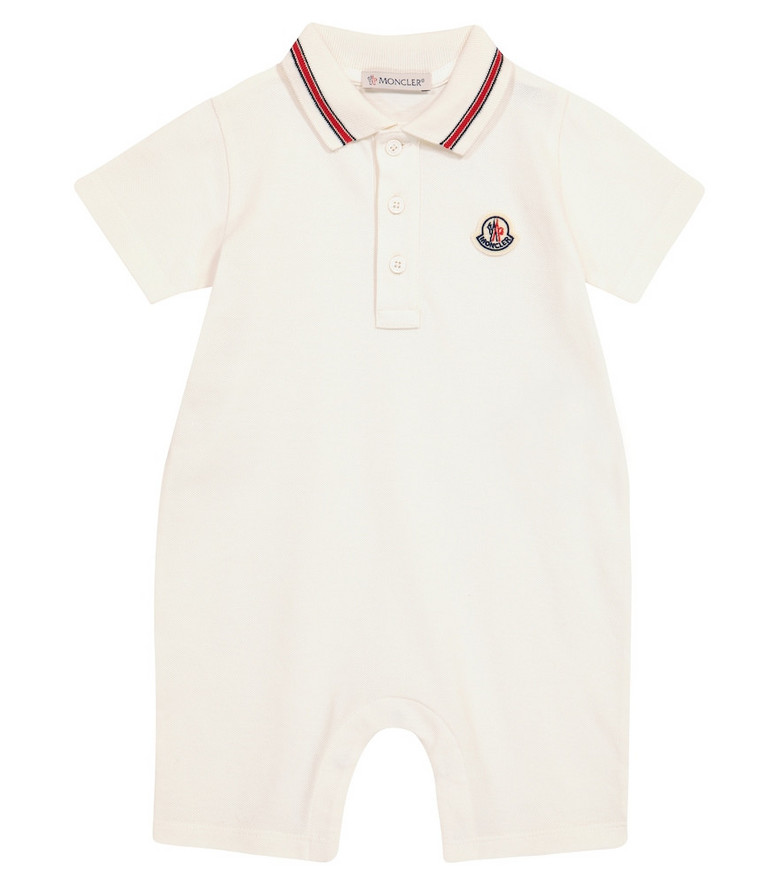 Moncler Enfant Baby stretch-cotton playsuit in white