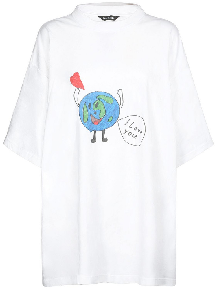 BALENCIAGA Love Earth Cotton Jersey T-shirt in white
