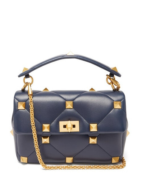 Valentino Garavani - Roman Stud Quilted-leather Shoulder Bag - Womens - Navy
