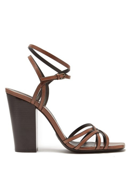 Saint Laurent - Oak 100mm Block Heel Strappy Leather Sandals - Womens - Tan