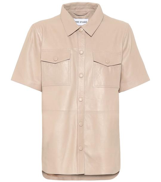 Stand Studio Danna leather shirt in beige