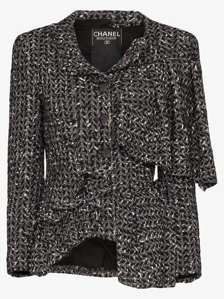 Tiger In The Rain reworked vintage Chanel asymmetric tweed jacket in black