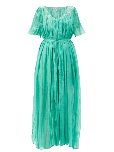 Thierry Colson - Sabina Pleated Cotton Dress - Womens - Green