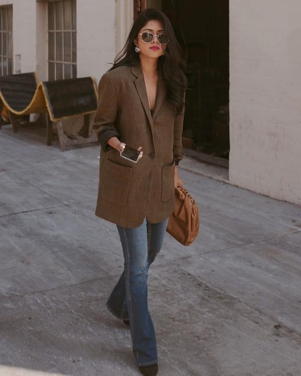 jacket blazer flare jeans skinny jeans bag